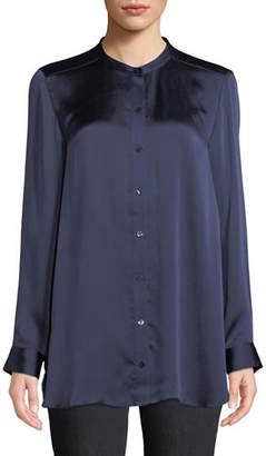 Eileen Fisher Hammered-Silk Mandarin-Collar Blouse