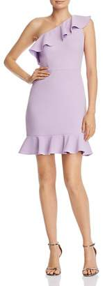 Aidan Mattox Flounced One-Shoulder Dress