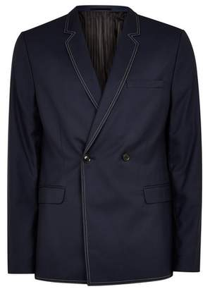 Topman Mens Navy Double Breasted Blazer With Top Stitching