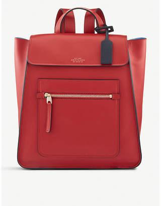 Smythson Red Bond Smooth Leather Backpack