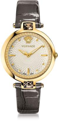 Versace Crystal Gleam Grey Women's Watch w/White Guilloche Dial and Croco Embossed Band