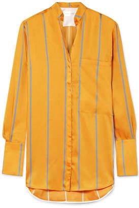 Victoria Beckham Victoria, Striped Satin-twill Shirt - Orange
