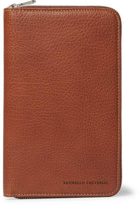 Brunello Cucinelli Burnished Full-Grain Leather Zip-Around Wallet - Men - Tan