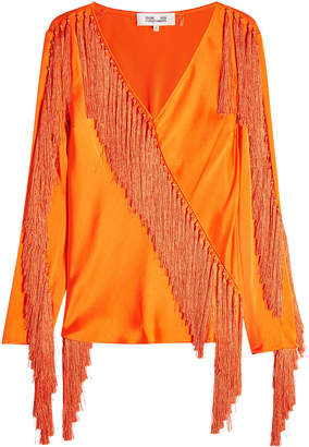Diane von Furstenberg Satin Blouse with Fringe