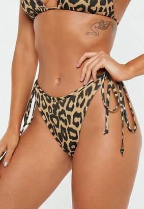 Missguided Tan Animal Tie Side Tanga Bikini Briefs
