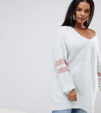 Micha Lounge Curve Oversized Jumper With Stripe Sleeve Detail
