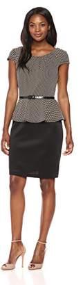 Connected Apparel Women's Dot Knit Peplum Dress