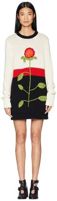 RED Valentino Wool Yarn, Color Blocks and Hand Stitched Flower Embroidery Sweater Dress Women's Clothing