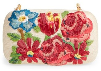 Franchi Garden Party Embroidered Box Clutch - Brown $198 thestylecure.com
