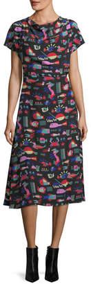 Emporio Armani Cyber Underwater World Printed Silk Midi Dress
