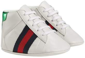 Gucci Kids Baby leather sneakers with Web