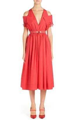Fendi Cold Shoulder Taffeta Midi Dress