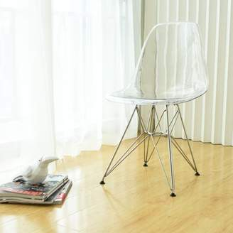 clear Mod Made Paris Tower Acrylic Dining Side Chair with Chrome Legs- Set of 2