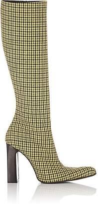Balenciaga Women's Houndstooth Tweed Knee Boots - Yellow