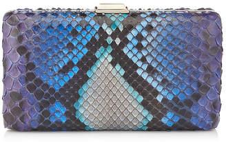 Jimmy Choo CLEMMIE Sky Mix Degrade Painted Python Clutch Bag