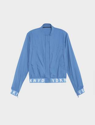 Donna Karan Donnakaran Pure Bomber Jacket With Elastic Logo Trims Blue M