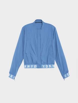 DKNY Pure Bomber Jacket With Elastic Logo Trims Blue M