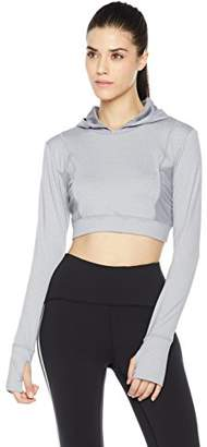 7Goals Women's Long Sleeve Cropped Hoody with Mesh Panels