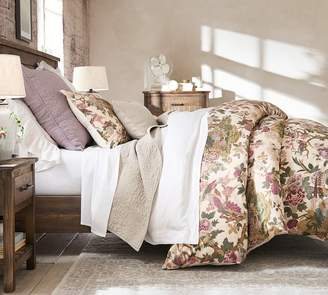 Pottery Barn Belgian Flax Linen Floral Stitch Quilt