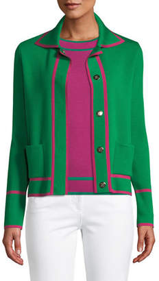 Escada Snap-Close Wool Cardigan w/ Contrast Trim