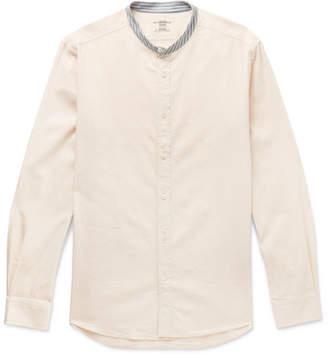 Kent & Curwen Slim-Fit Stripe-Trimmed Grandad-Collar Cotton Shirt