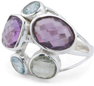Made In India Sterling Silver Amethyst And Blue Topaz Ring