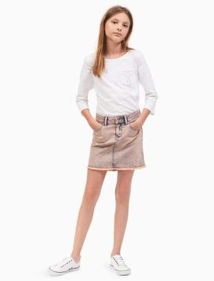 Calvin Klein girls overdyed denim high-low skirt