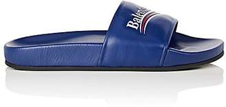 Balenciaga Women's Leather Slide Sandals - Blue