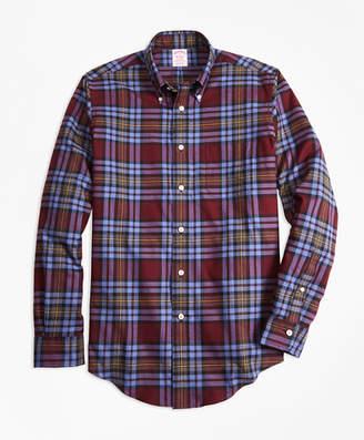 Brooks Brothers Madison Fit Burgundy Plaid Flannel Sport Shirt