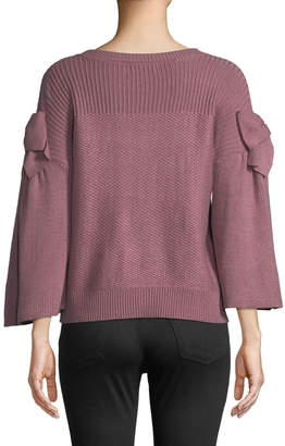 Neiman Marcus Bowed-Sleeve Sweater