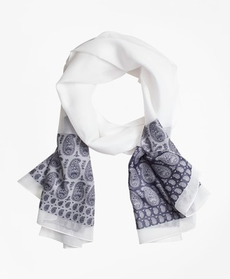 Brooks Brothers Paisley Silk-Cotton Oblong Scarf