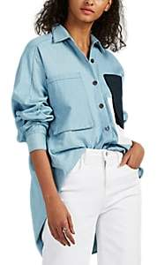 Colovos Women's Cotton Chambray Oversized Button-Front Shirt - Blue
