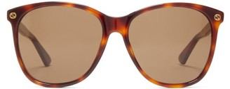 Gucci Oversized Square Frame Acetate Sunglasses - Womens - Brown