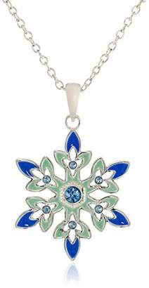 Disney Girls' Frozen -Plated Crystal Snowflake Pendant Necklace