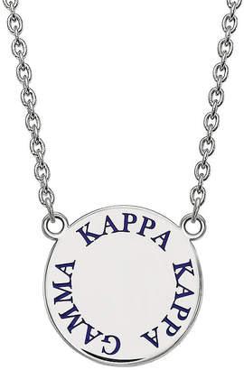 FINE JEWELRY Kappa Kappa Gamma Enamel Sterling Silver Disc Pendant Necklace