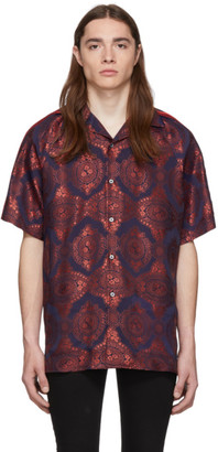 Gucci Red and Navy Baroque Jacquard Bowling Shirt