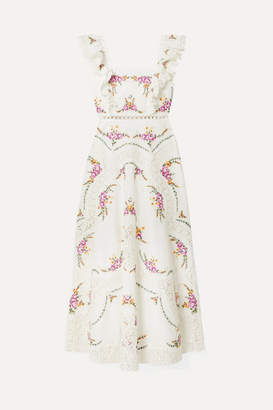 Zimmermann Allia Lace-trimmed Embroidered Linen And Cotton-blend Maxi Dress - Ivory