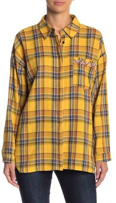 Free the Roses Embroidered Plaid Button Down Shirt