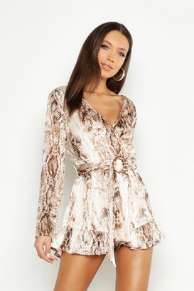 boohoo Tall Snake Print Tortoise Shell Buckle Playsuit