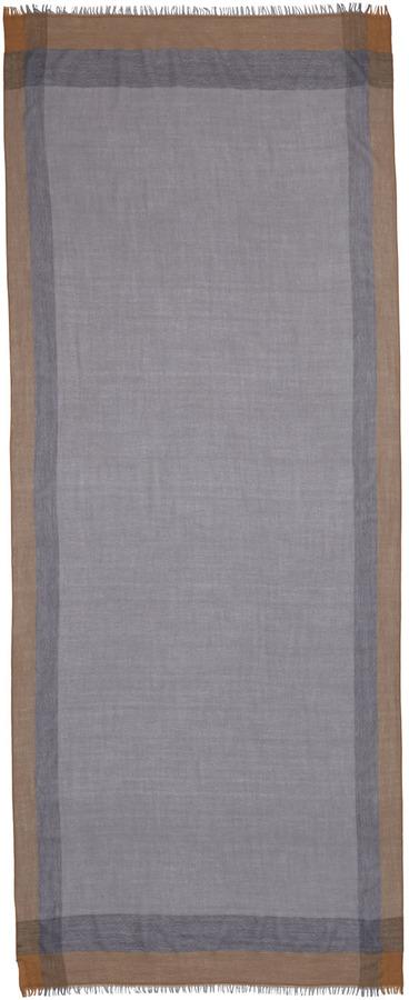 Neiman Marcus Windowpane Wool Scarf, Fog Gray