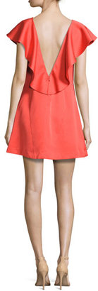 ZAC Zac Posen Dottie Crepe Ruffle-Trim Shift Dress, Red $525 thestylecure.com