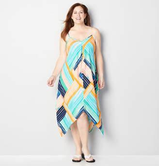 Avenue Mixed Colorblock Handkerchief Dress