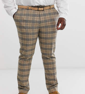 Twisted Tailor plus skinny suit pants in heritage brown check