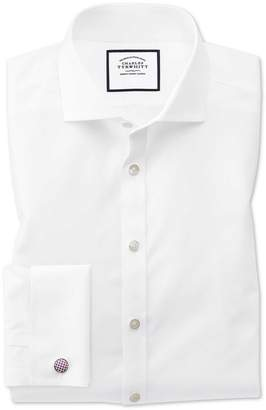 Charles Tyrwhitt Super Slim Fit Cutaway Non-Iron Poplin White Cotton Formal Shirt Double Cuff Size 14.5/33