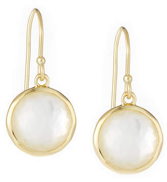 Ippolita Lollipop Mini Earrings in 18K Gold with Clear Quartz and Mother-of-Pearl Doublet