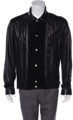 Versace Suede-Trimmed Leather Jacket