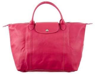 Longchamp Leather Pliage Satchel