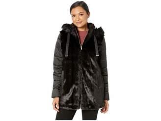Via Spiga Hooded Mixed Media Puffer Coat Women's Coat