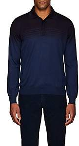 Fioroni Men's Striped Cashmere-Silk Polo Shirt - Navy