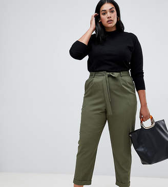 Asos DESIGN Curve woven peg pants with obi tie